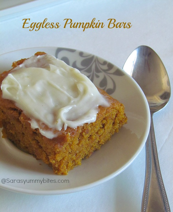 Eggless Pumpkin Bars with Cheese cream frosting