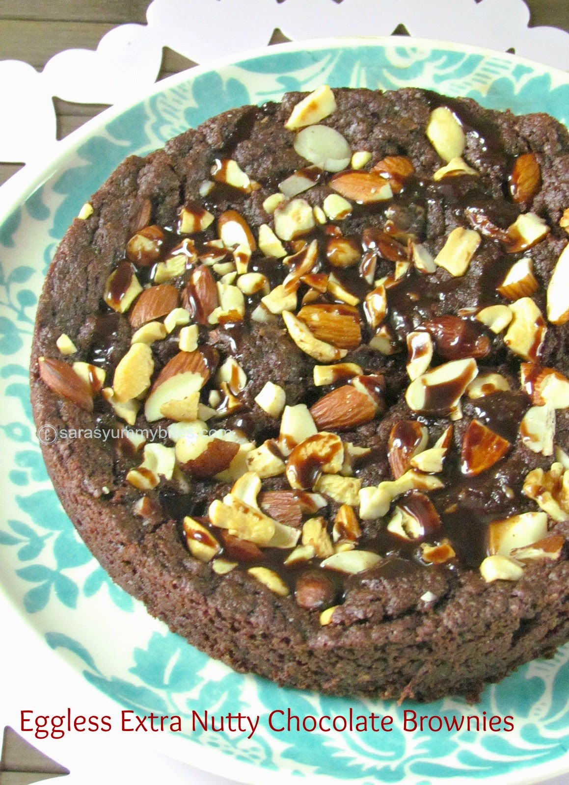 Eggless Extra Nutty Chocolate Brownies